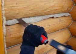 конопатка деревянного дома сруба